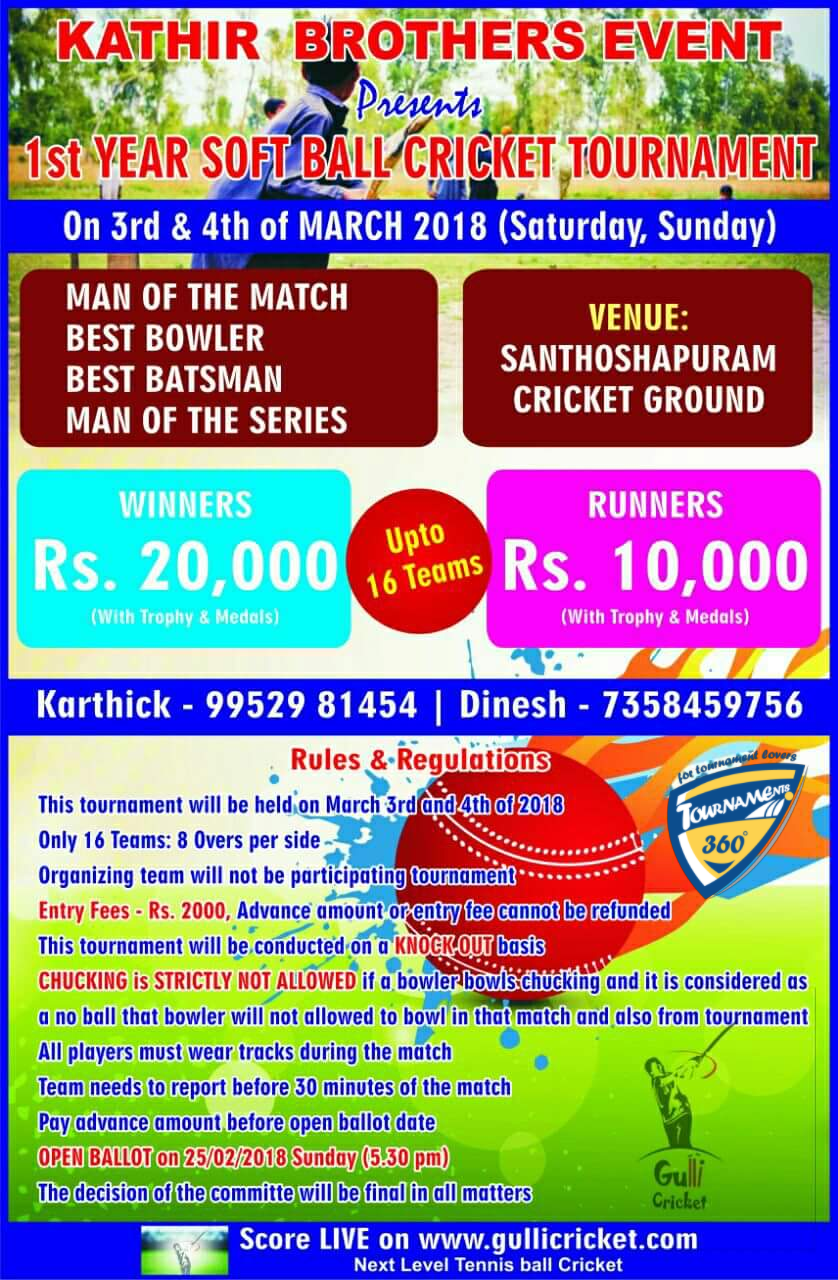 1st Year Soft Ball Cricket Tournament
