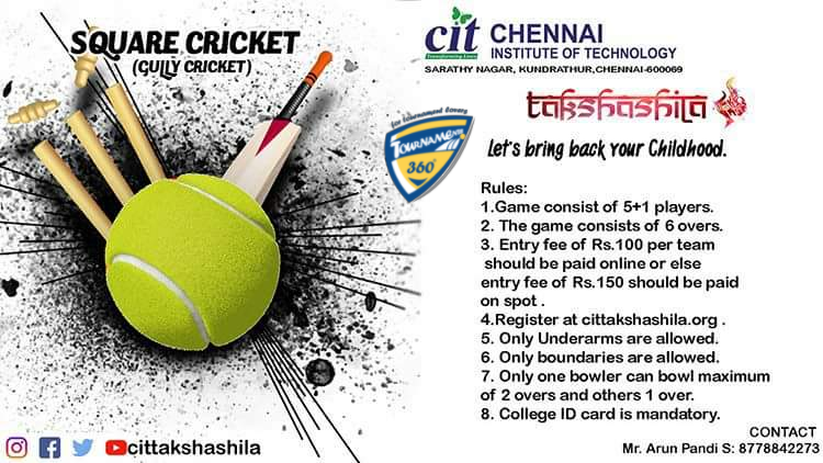 Takshashila Square Cricket Tournament