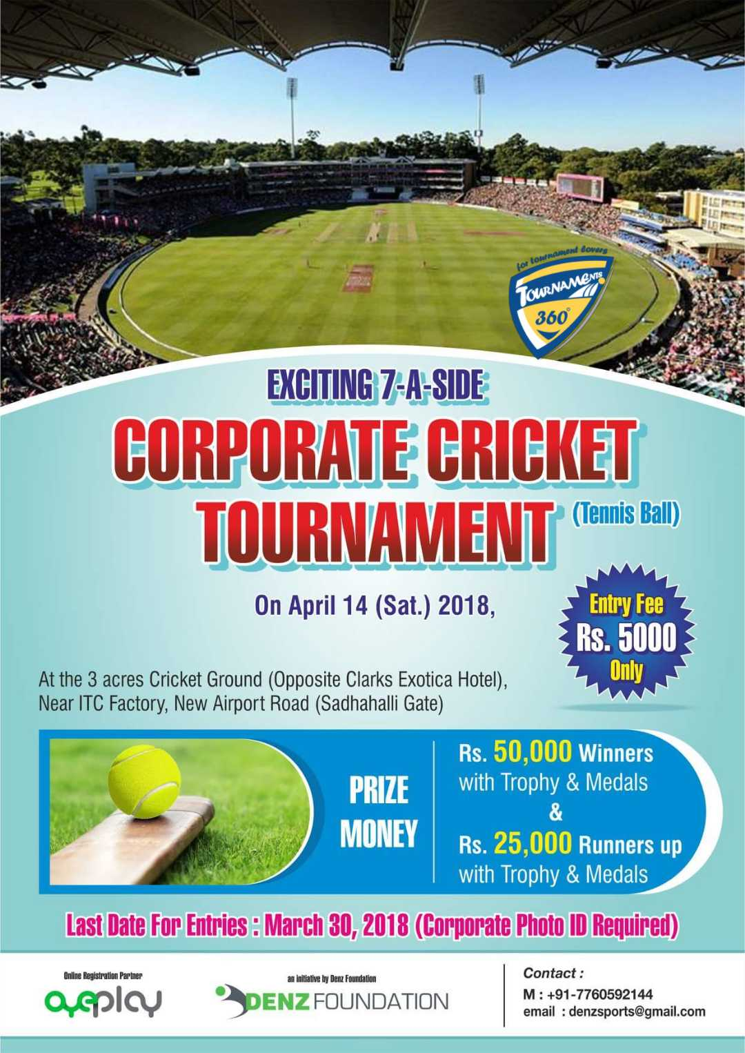 Invitation For Corporate Cricket Tournament: Corporatetournament List In Bangalore