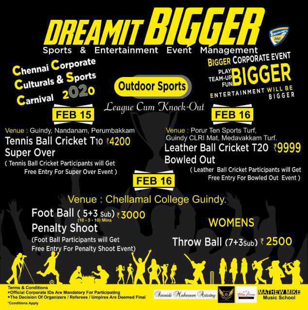 Chennai Corporate Culturals and Sports Carnival 2020