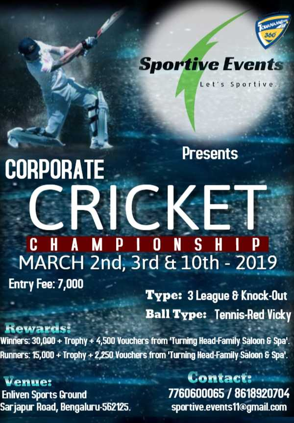 Invitation For Corporate Cricket Tournament: Corporate Cricket Championship 2019