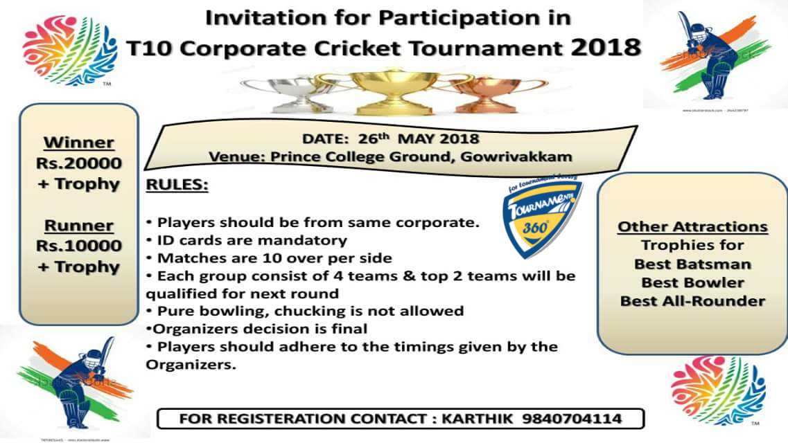 Invitation For Corporate Cricket Tournament: T10 Corporate Cricket Tournament 2018