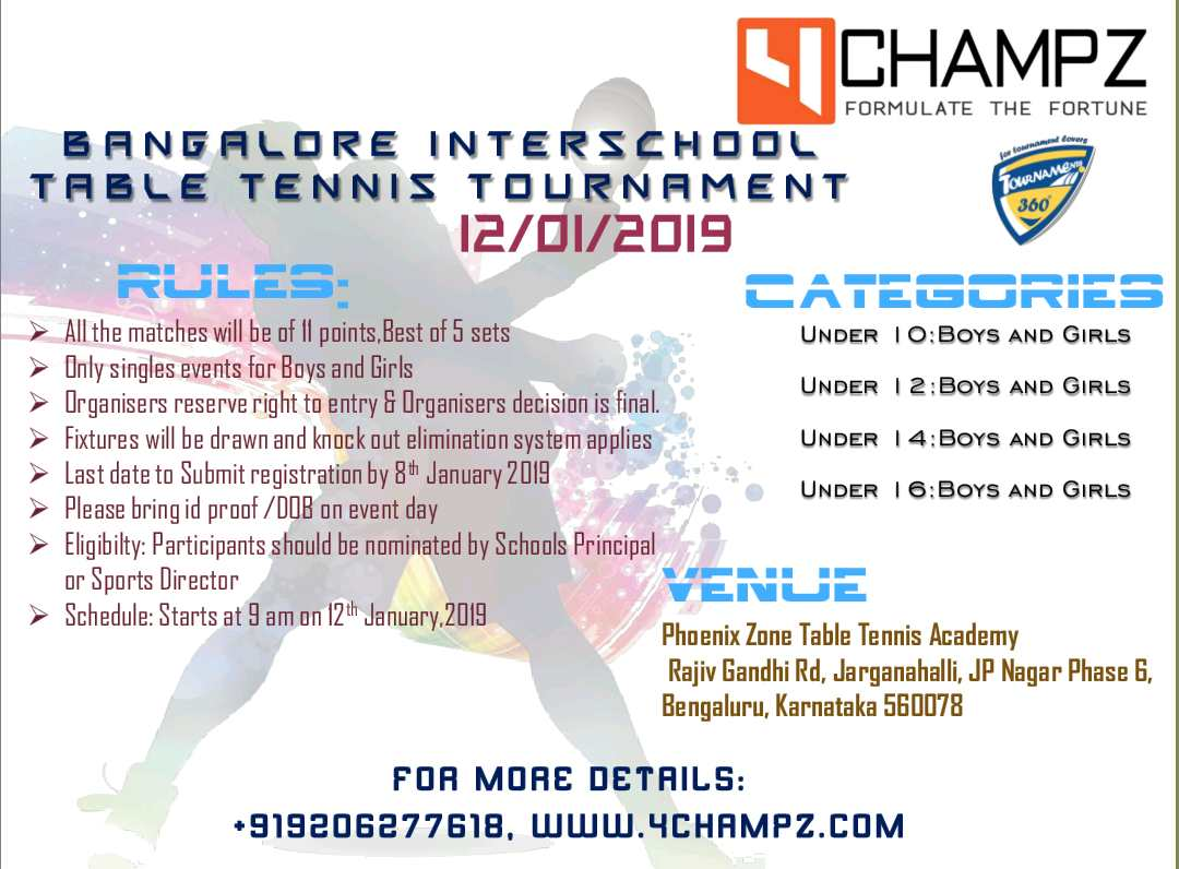 Bangalore Interschool Table Tennis Tournament