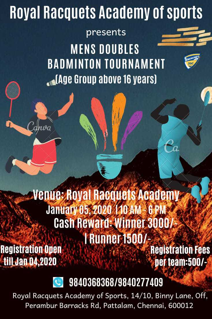 Mens Doubles Badminton Tournament 2020