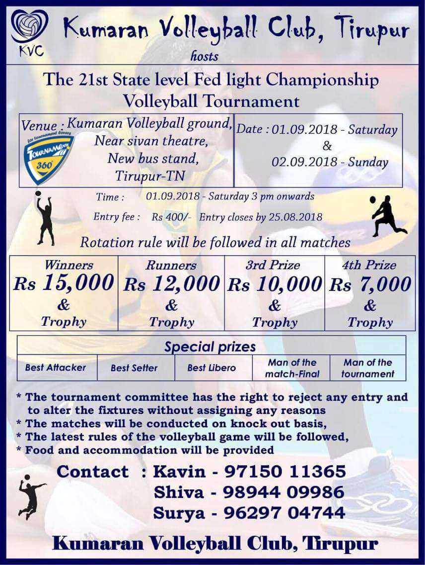 21st State Level Floodlight Volleyball Tournament