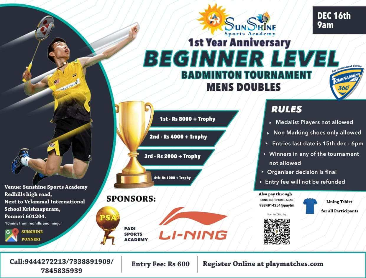Beginner Level Mens Doubles Badminton Tournament