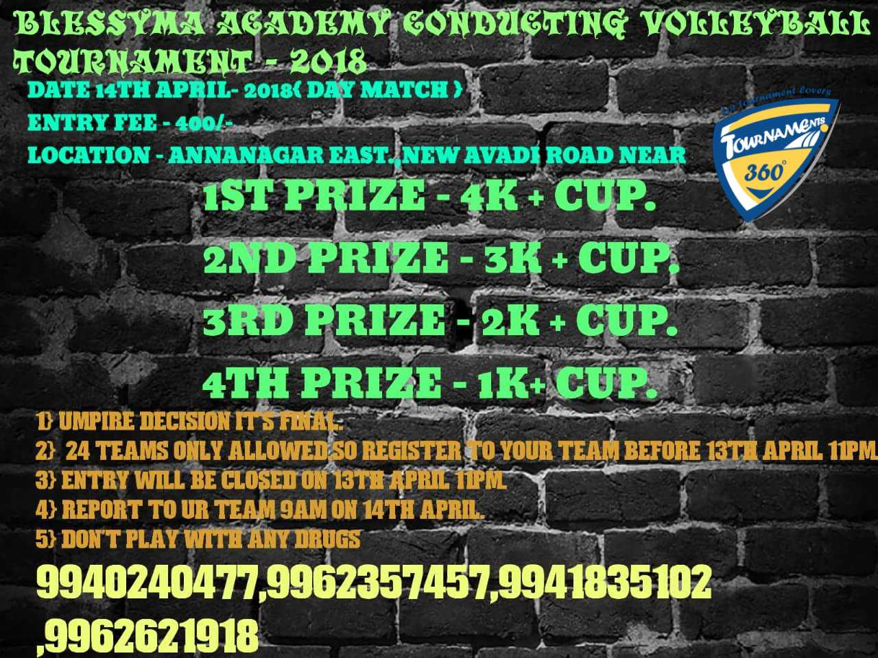 Blessyma Academy conducting Volleyball Tournament 2018