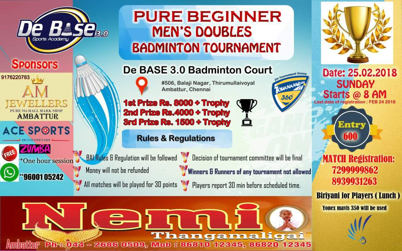 Pure Beginner Men's Doubles Badminton Tournament