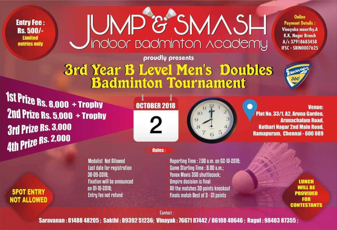 3rd Year B Level Men's Doubles Badminton Tournament