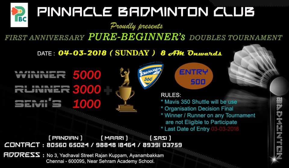 Pure Beginner's Doubles Badminton Tournament