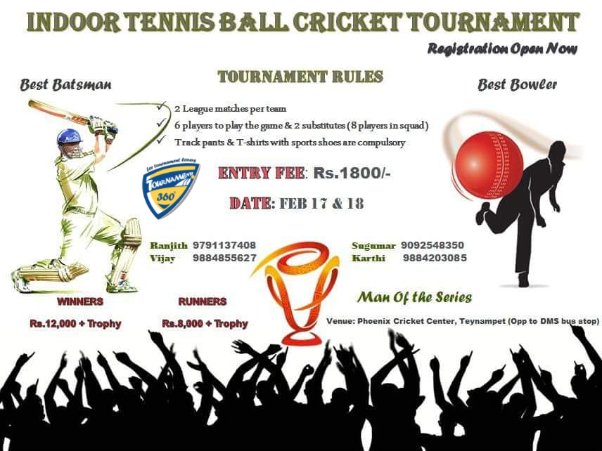 Indoor Tennis Ball Cricket Tournament