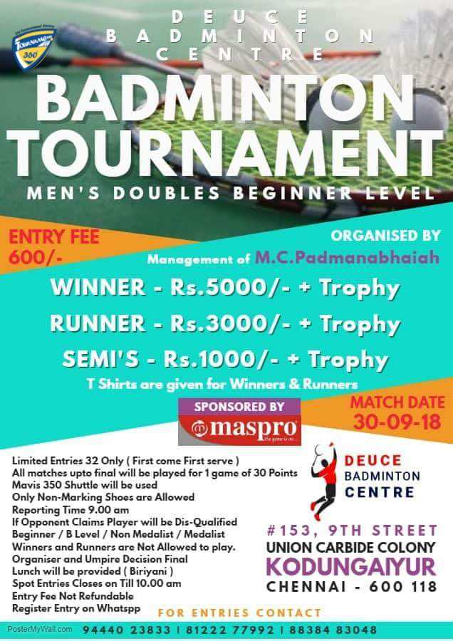 Men's Doubles Begineer Level Badminton Tournament