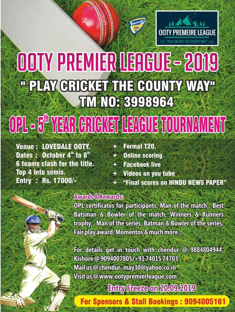5th Year Ooty Premier League 2019