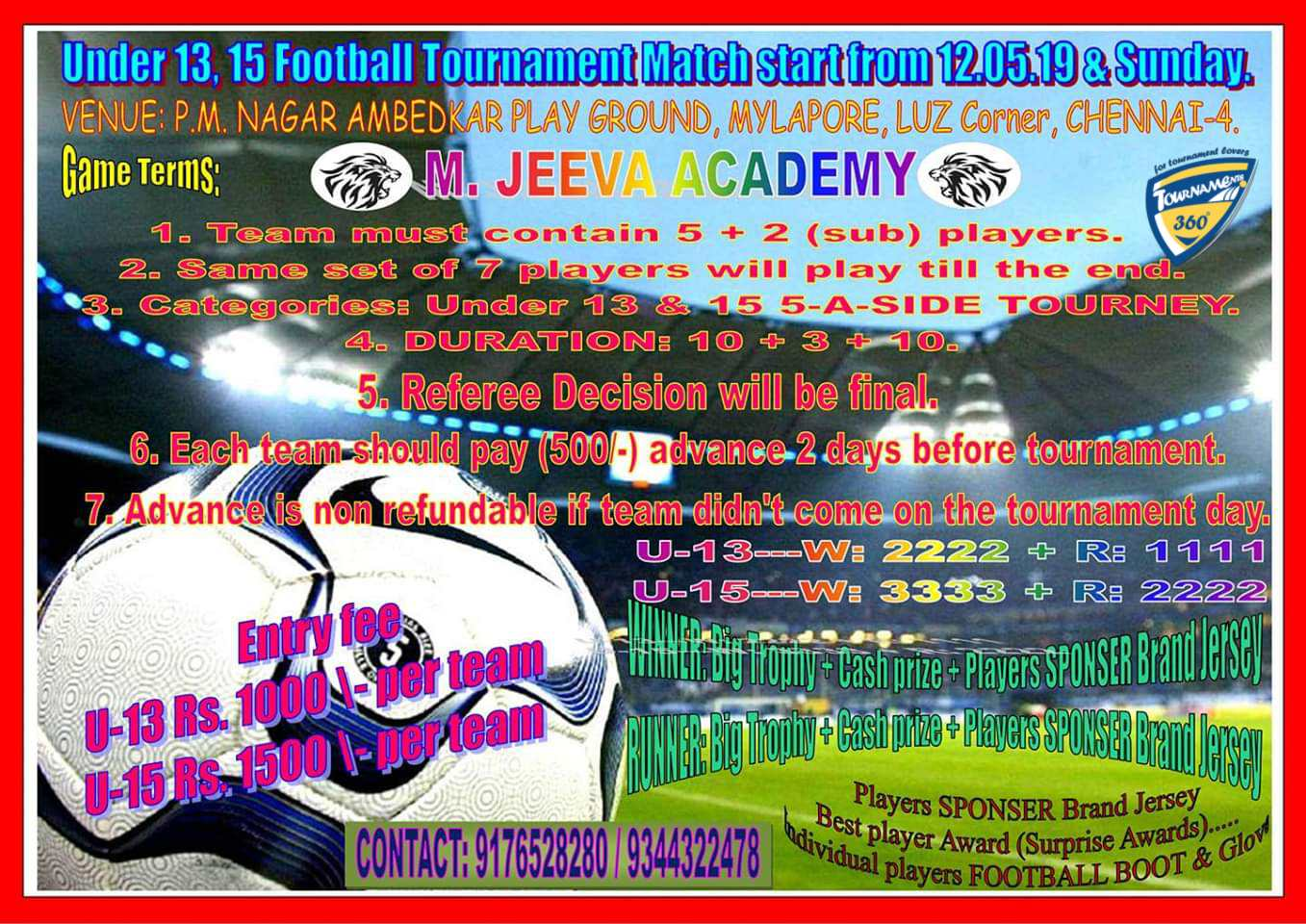 Under 13 and Under 15 Football Tournament