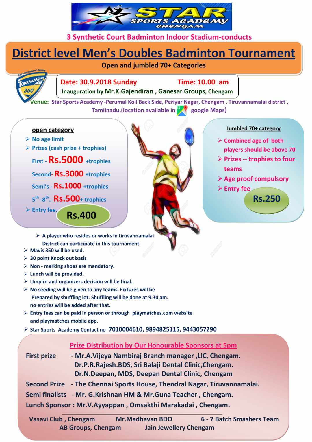 Men's Doubles Badminton Tournament
