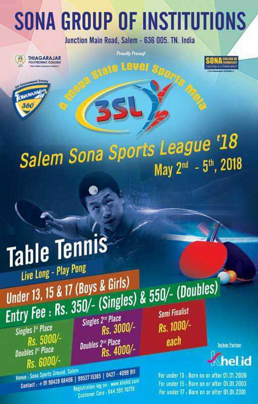 Salem Sona Sports League 2018 - Table Tennis