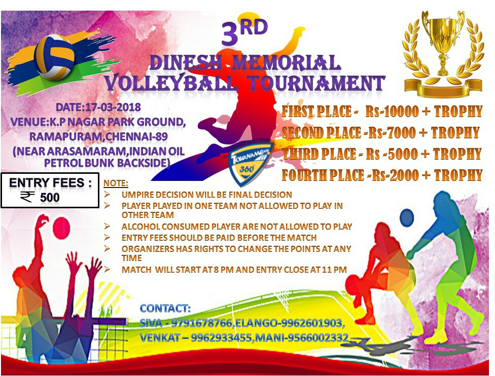3rd Year Dinesh Memorial Volleyball Tournament