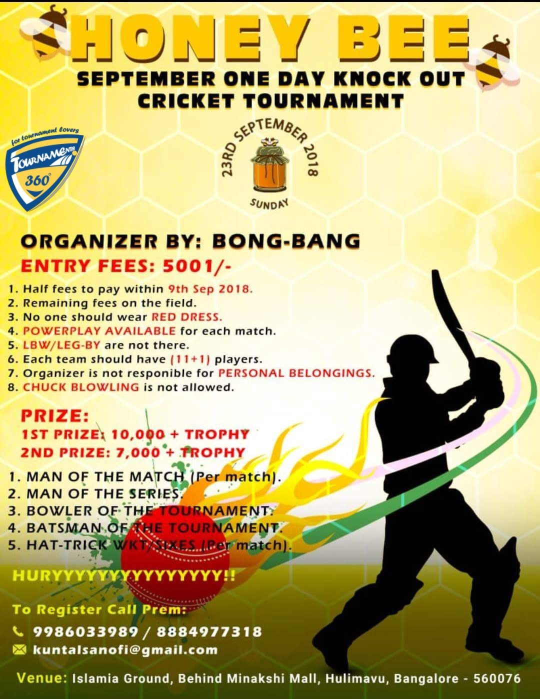 Honey Bee One Day Knock Out Cricket Tournament