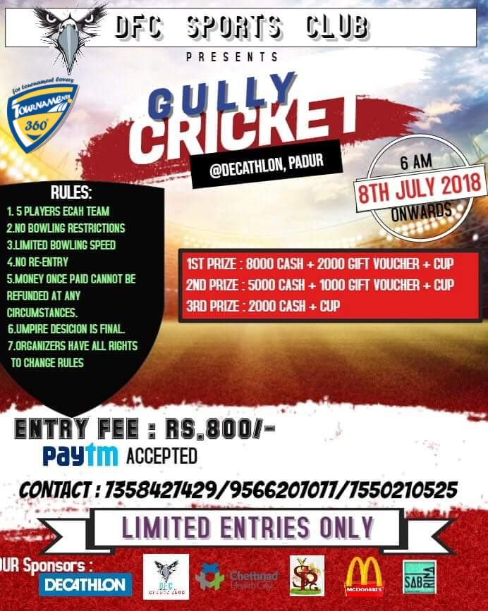 Gully Cricket Tournament in Chennai