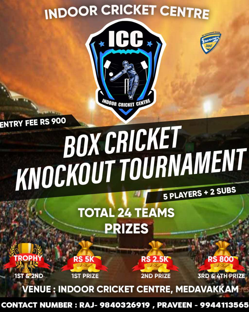 Box Cricket Knockout Tournament